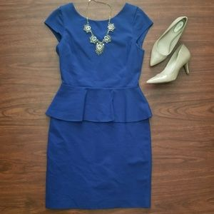 Banana Republic Blue Peplum Style Fitted Dress